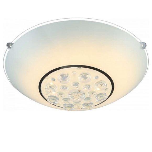 LHG LED Deckenleuchte - Opalglas mit klarem Rand - Kristall - Ø 40cm, 1 x 18Watt, - inklusive  LED Taschenlampe