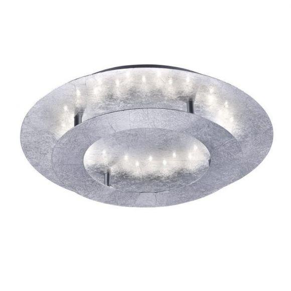LED Deckenleuchte, Stahl, Blattsilber, D= 40cm, warmweiß