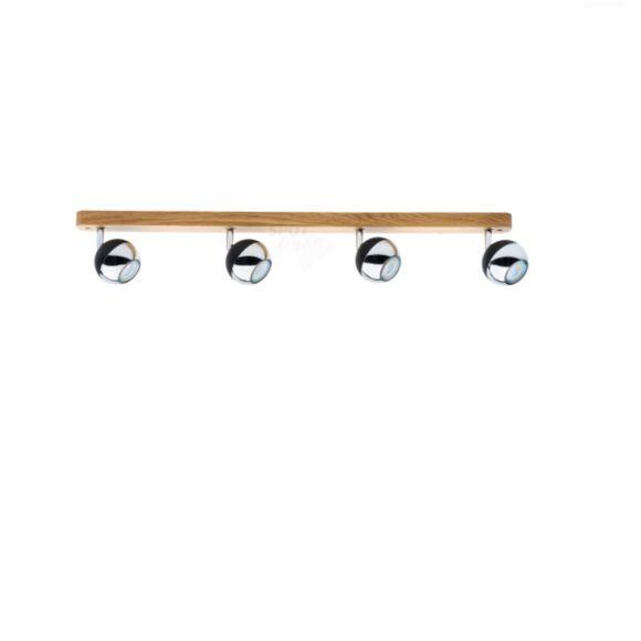 LED Deckenstrahler, 4-flammig, Wood Eiche geölt/Schwarz/ Chrom