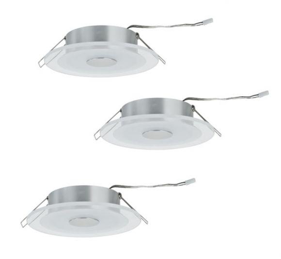 LED Einbauleuchten 3er Set, Aluminium / sat. Glas