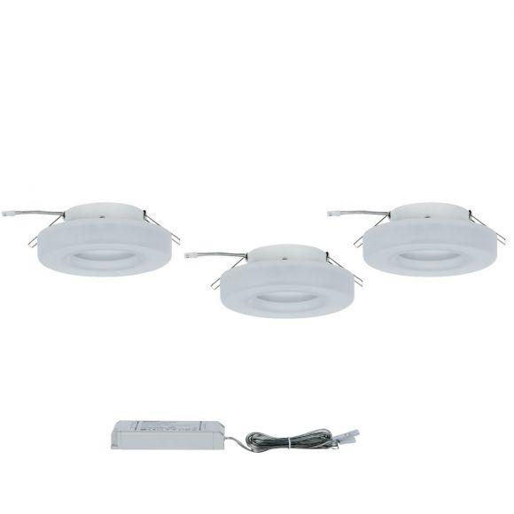 LED Einbauleuchten Set aus weißem Acrylglas - 3 Leuchten inklusive LED, je 5,5W/420lm  2700K warmweiß, Ø 11cm