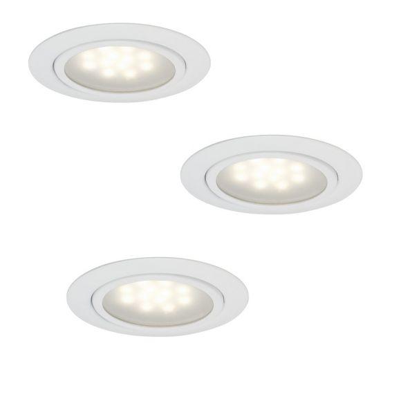 LED Einbauleuchten, rund, 3er Set, weiß, inkl. Trafo, D= 6,50cm