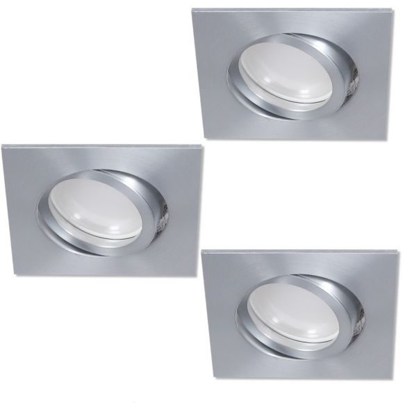 LHG LED Einbaustrahler 3er Set Aluminium eckig 3-fach dimmbar switchmo