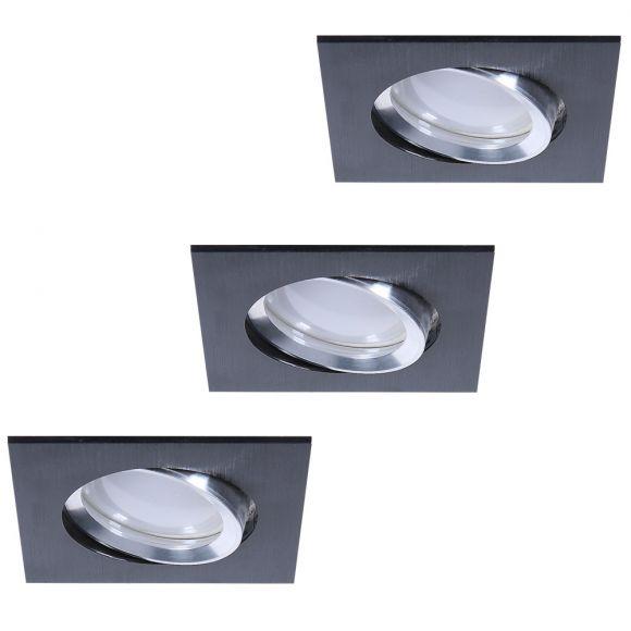 LED Einbaustrahler 3er Set aus Aluminium Schwarz 3-fach dimmbar