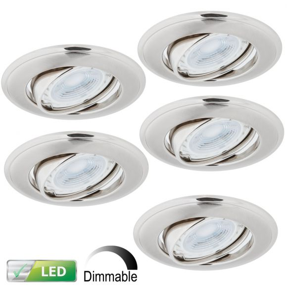 LHG LED Einbaustrahler, Nickel Satin, 5er-Set, inkl. LED 5 x GU10 5W