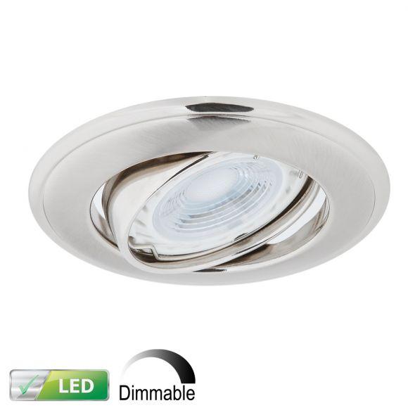 LHG LED Einbaustrahler, Nickel, rund, Schwenkbar, dimmbar, inkl. GU10 5W
