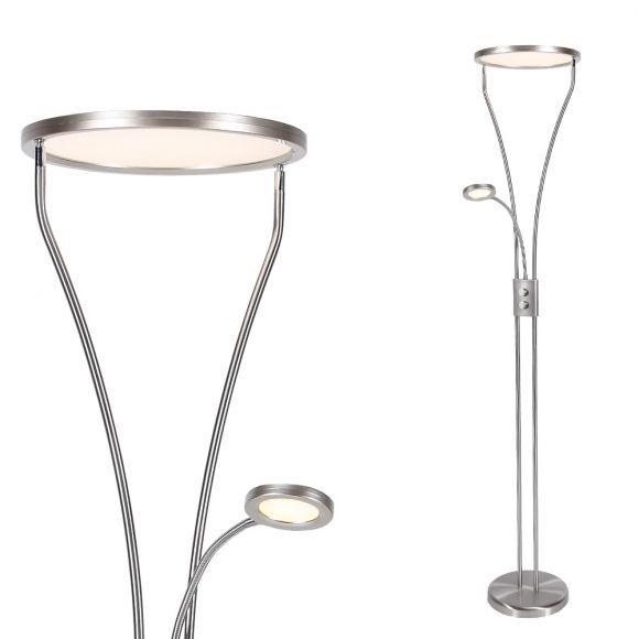 LED Fluter Marian rund Stahl mit Lesearm und Dimmer H 180cm