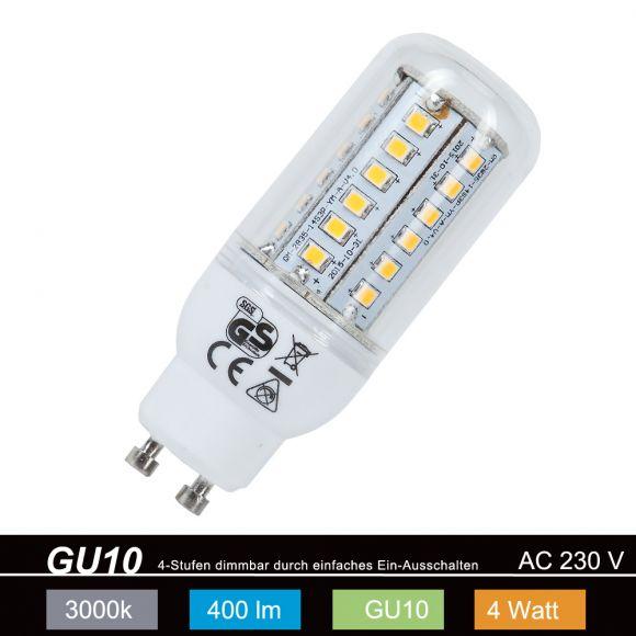 LED GU10 4 Watt 3000K  Warmweiß 4-fach dimmbar mit Schalter