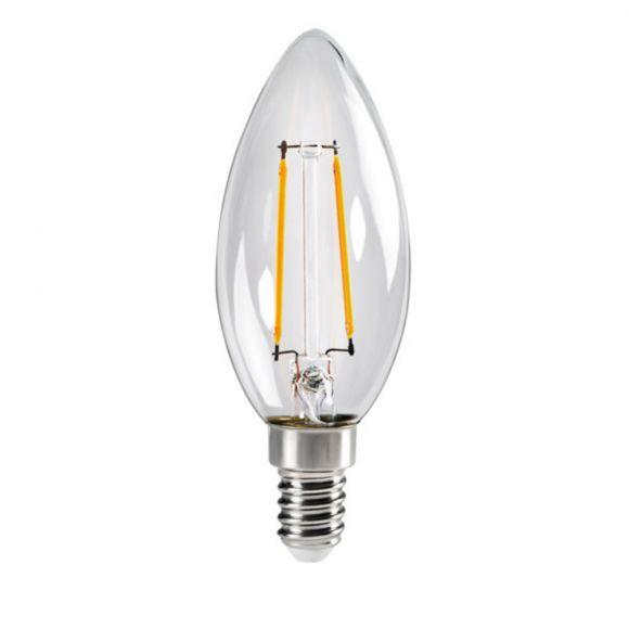 LED Leuchtmittel, E14, Kerzenform, klar, warmweiß, 2,5W