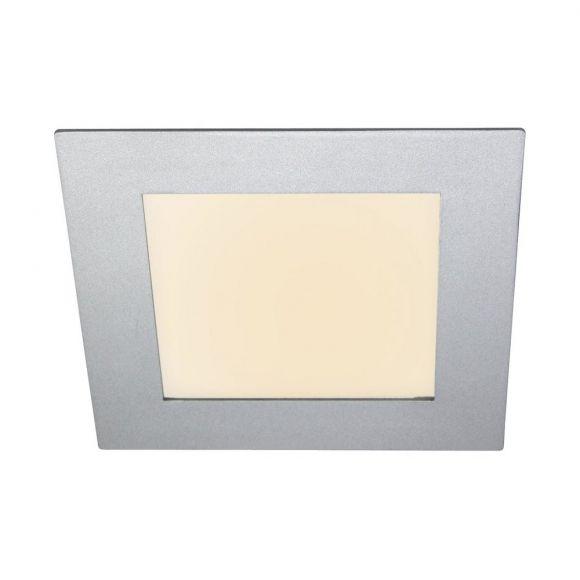 LED Panel 11W für Deckeneinbau Innen und Außen, 18x18 cm, 3000K warmweiß, silber