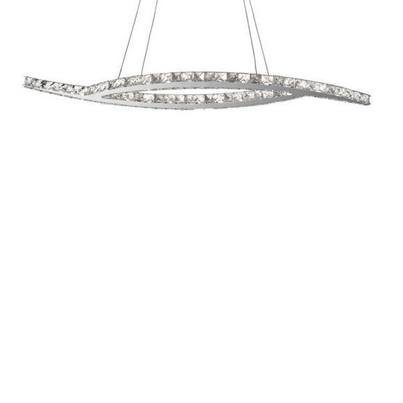 LED Pendelleuchte mit Kristallglas, überschneidende Leuchtenarme