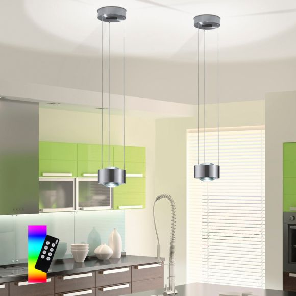 LED Pendelleuchte Q-LENS, Smart Home, Fernbedienung, dimmbar