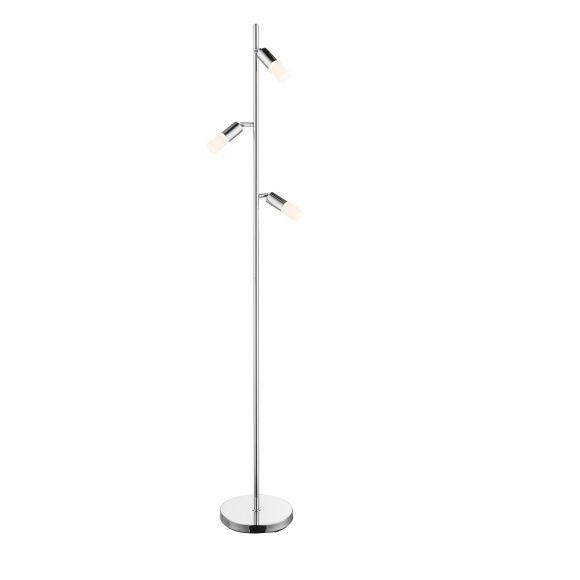 LED Stehleuchte, 3-flammig, Chrom, schwenkbar, modern, Höhe 143 cm