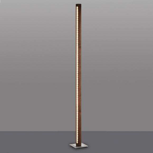 LED Stehleuchte, Massivholz, Nussbaum, Nickel matt, H= 121 o. 160cm