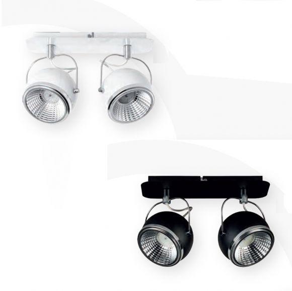 LED Strahler Ball in Weiß oder Schwarz mit Chrom 2 flammig