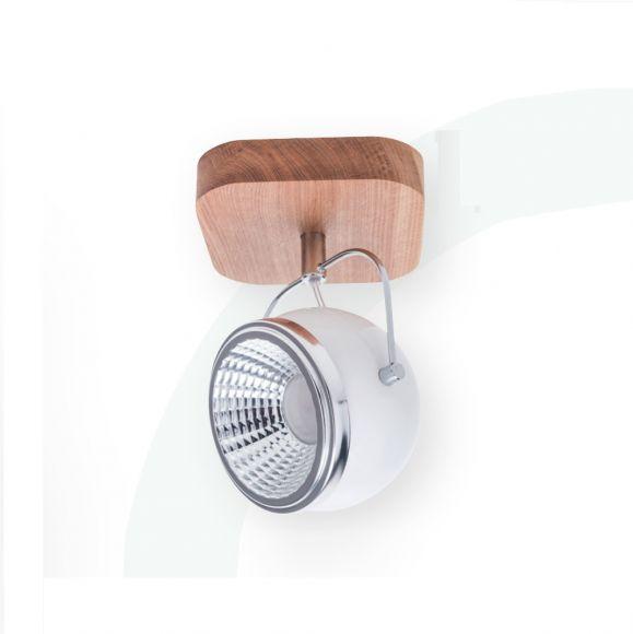 LED Strahler Ball Wood  Chrom  Eiche geölt/Weiß