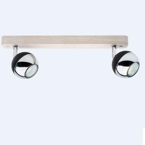 LED Strahler Bianca Wood Eiche weiß/Schwarz/Chrom 2fl