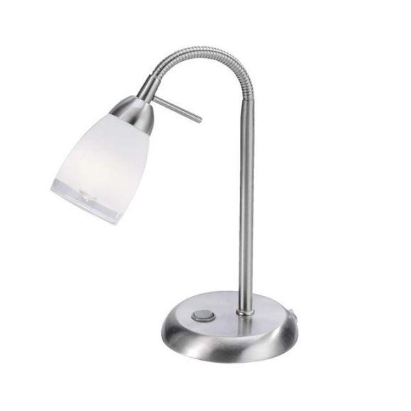 LED Tischleuchte mit Flexarm, Stahl, Glas mit klarem Rand, inklusive G9 LED-Leuchtmittel, 3000°K, 180lm + Taschenlampe