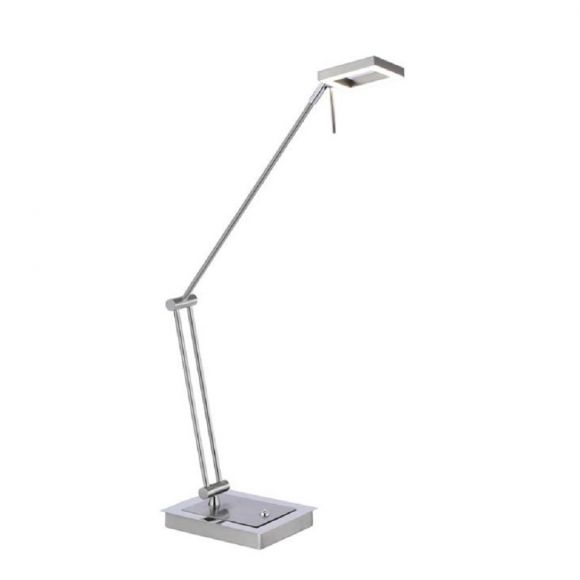 LED Tischleuchte, Nickel matt, Tastdimmer, schwenkbar, warmweiß