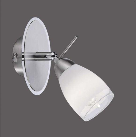 LED Wandleuchte mit Kippschalter, Stahl, Glas mit klarem Rand, inklusive 1x G9 2Watt LED-Leuchtmittel, 3000°K, 180lm + LED Taschenlampe