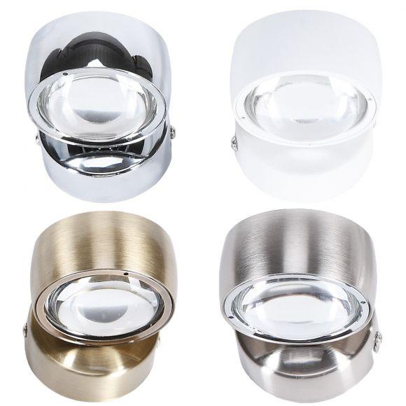LED Wandleuchte mit Linsenglas - 4 Oberflächen