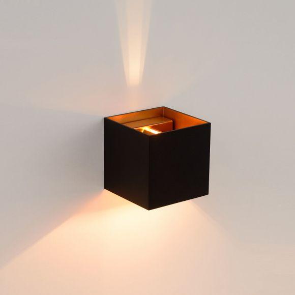 LED Wandleuchte Xio von Lucide in grau, schwarz/gold oder weiß