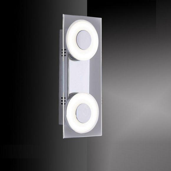 LED Wandleuchte, Chrom, Glas, inkl. LED Leuchtmittel, warmweiß