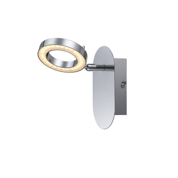 LED Wandleuchte, Metall glänzend verchromt, inklusive 1 x LED  - 10W - 400lm, 3000°K - inklusive  LED-Taschenlampe