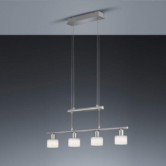 LED Zugpendelleuchte in Nickel matt mit weißen Gläsern - höhenverstellbar - inklusive 4x 4 Watt LED Leuchtmittel