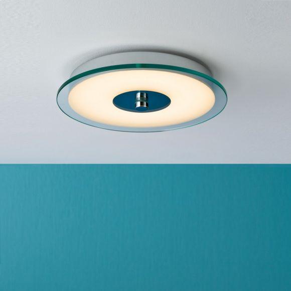 LED-Badezimmerdeckenleuchte Ø 32cm, Chrom, Weiß, Metall, Acryl  IP44-Schutz, inklusive LED - 14W - 750 lm - 3000 K warmweiß