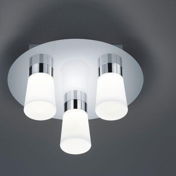 LED-Badezimmer-Deckenleuchte IP44 in Chrom glänzend, Opalglas weiß ...