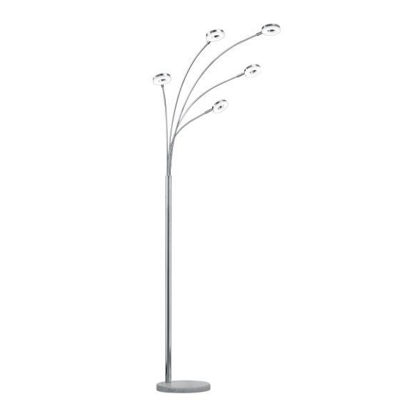 LED-Bogenleuchte 5-flg. Chrom mit Keramikfuß in weiß