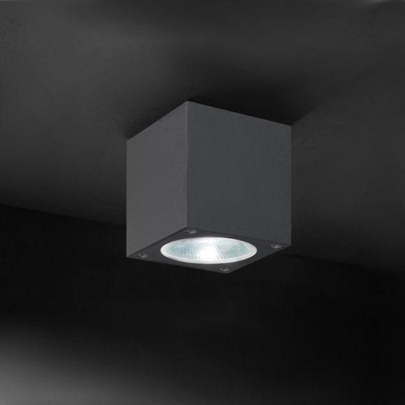 LED-Deckenaufbauleuchte für Außen eckig - 2 Farben