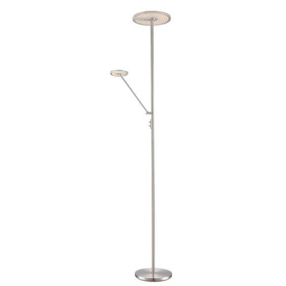 LED-Deckenfluter mit Lesearm in Nickel matt, getrennt schaltbar