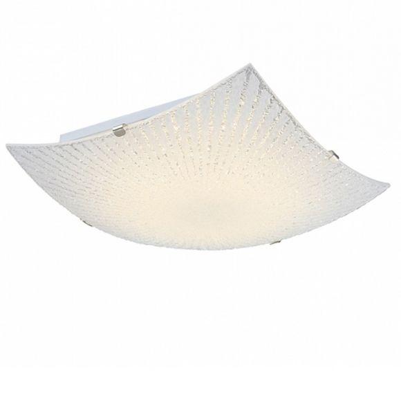 LHG LED-Deckenleuchte chrom, Dekorlinien geeist, inkl. 1xLED 8W