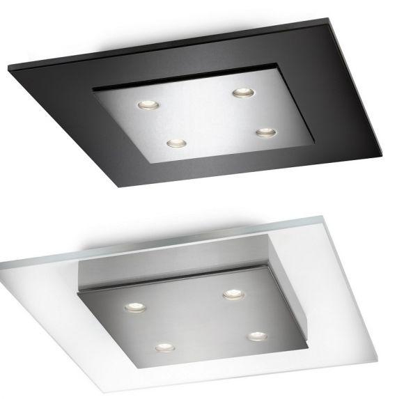 led deckenleuchte eckig 4 flg dimmbar rauchglas oder klarglas wohnlicht. Black Bedroom Furniture Sets. Home Design Ideas