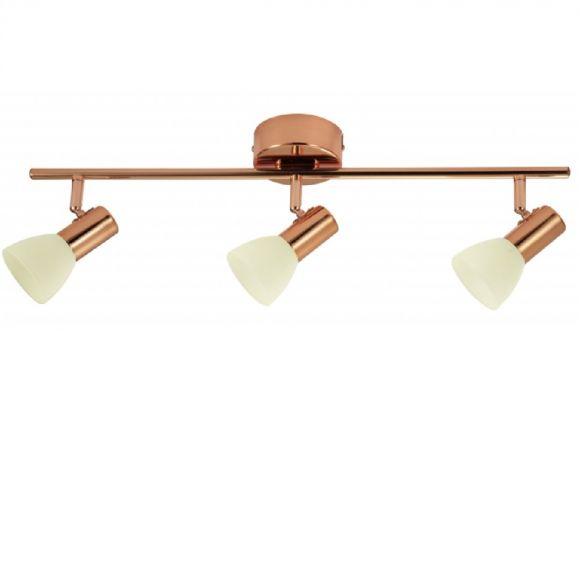 LED-Deckenleuchte in kupferfarbig, Glas satiniert - champagner, 3-flammig