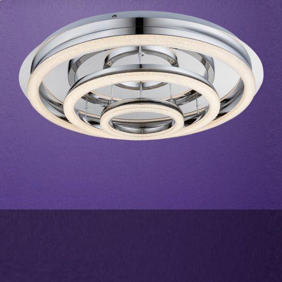 LED-Deckenleuchte mit Fernbedienung, Chrom, Ø70cm