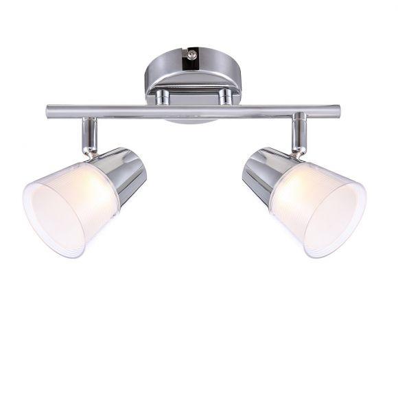 LED-Deckenleuchte mit Kunststoffglas 2x 3W + LED-Taschenlampe