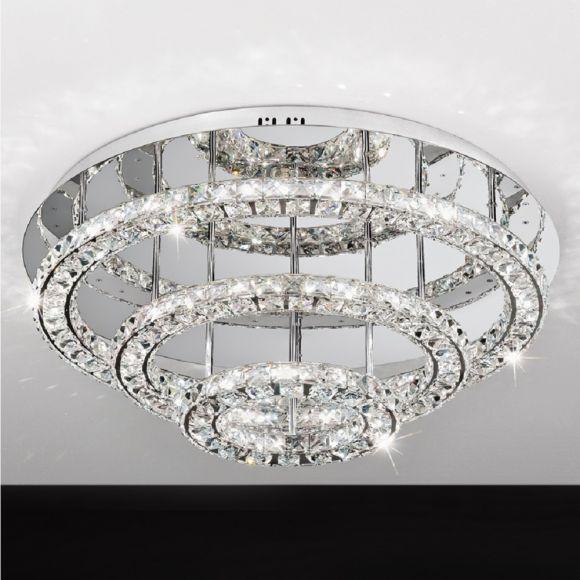 LED-Deckenleuchte rund Chrom mit klarem Kristallglas in zwei Größen