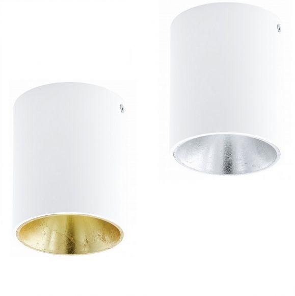 LED-Deckenleuchte in Weiß, innen silber- oder goldfarben
