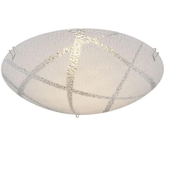 LED-Deckenleuchte, Ø25cm aus geeistem Strukturglas