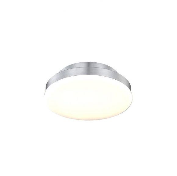 LED-Deckenleuchte - Aluminium gebürstet mit weißem Kunststoffglas, Ø 25cm ,144 x 0,06W LED ~ 8,64Watt, 850lm, - inklusive  LED-Taschenlampe