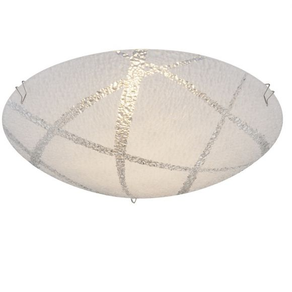LED-Deckenleuchte, D=25cm, Strukturglas geeist, inkl. LED 8W warmweiß
