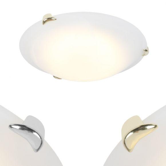 LED-Deckenleuchte, Glas, Weiß, D=30cm, Klemmhaken, Messing