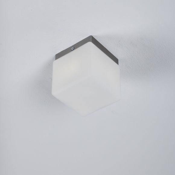 LHG LED-Deckenleuchte, modern, Nickel-matt, quadratisch, Opalglas