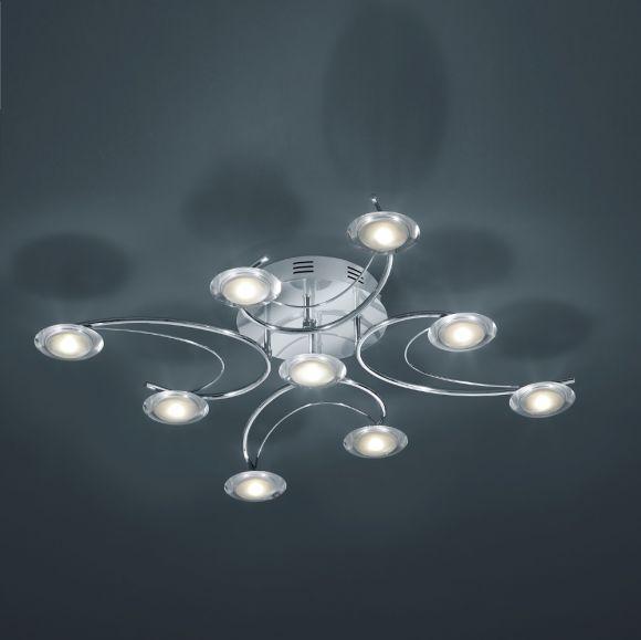 LED-Deckenleuchte - verchromtes Metall, Acrylglas - inkl. 9 × 3,2 W  LED, je 300lm, 3000°K + Extra 1x GU10 LED Leuchtmittel zur freien Nutzung