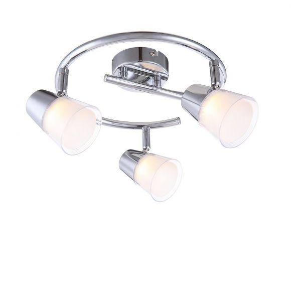 LHG LED-Deckenrondell mit Kunststoffglas 3x 3W + LED Taschenlampe
