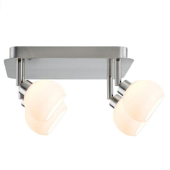 LED-Deckenspotlight  Eisen gebürstet, Glas weiß - inklusive LED - Hochvolt Stiftsockel, 4 x 3 Watt GU10 Warmweiß