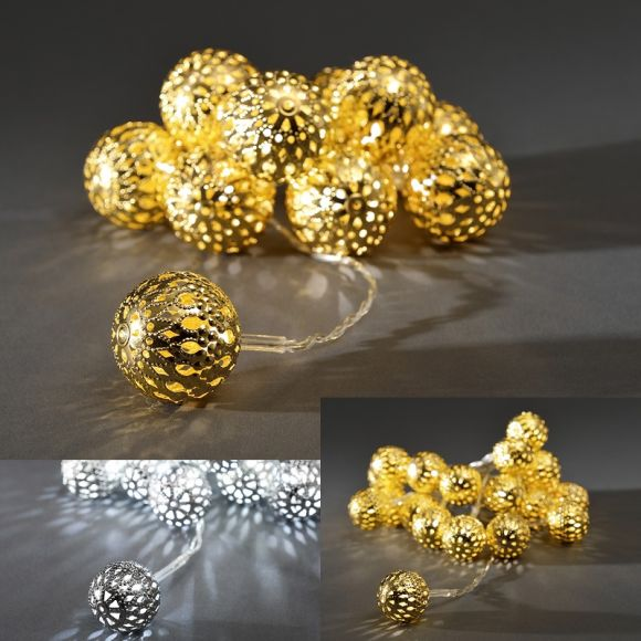 LED-Dekolichterkette, Metallbälle silber, 10 Dioden kaltweiß 10x 0,06 Watt, silber, 120,00 cm